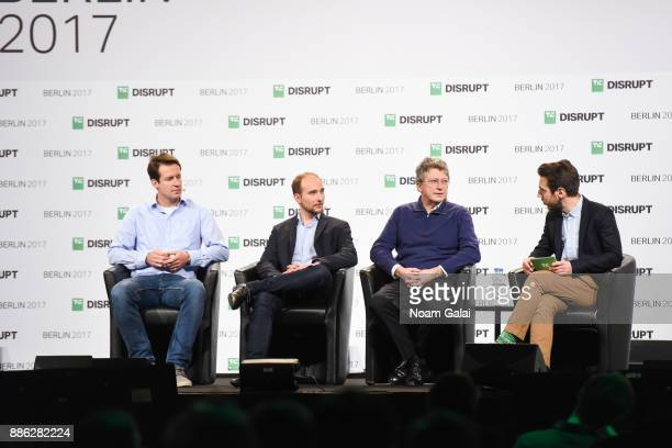 SkyFutures CEO James Harrison Uavia CEO Clement Christomanos Parrot CEO Henri Seydoux and TechCrunch Moderator Romain Dillet speak onstage at...