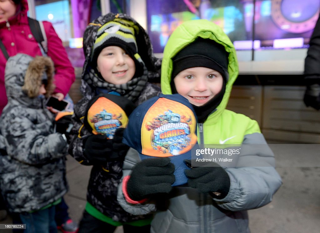 Skylanders Giants Fans Celebrate at Toys'R'Us Times Square for Toy Fair on February 5, 2013 in New York City.