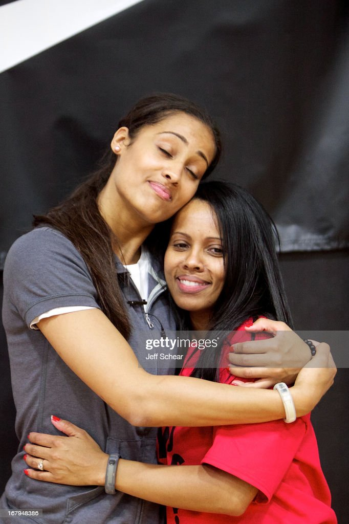 Skylar Diggins (L) attends 'The Martin Luther King Center offers congratulations to Skylar Diggins as she heads to Oklahoma Tulsa Shock' at Martin Luther King Center Gymnasium on May 2, 2013 in South Bend, Indiana.