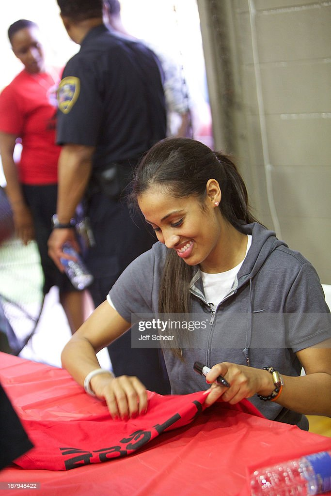 Skylar Diggins attends 'The Martin Luther King Center offers congratulations to Skylar Diggins as she heads to Oklahoma Tulsa Shock' at Martin Luther King Center Gymnasium on May 2, 2013 in South Bend, Indiana.