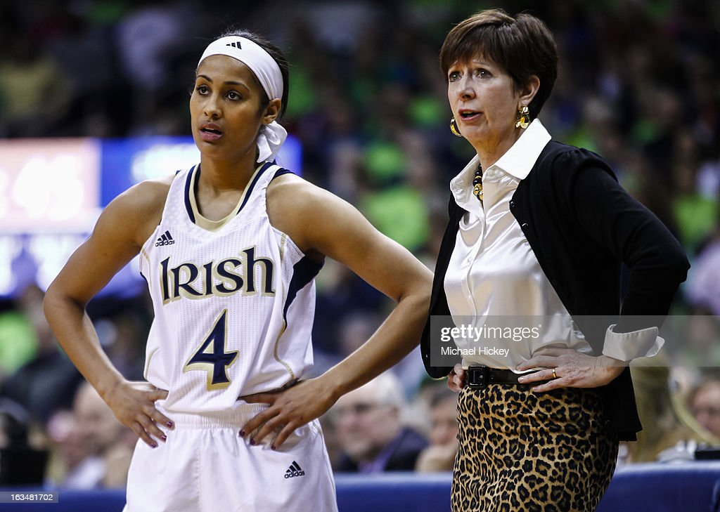 Skylar Diggins #4 of the Notre Dame Fighting Irish and Head coach Muffet McGraw of the Notre Dame Fighting Irish seen during the game against the Connecticut Huskies at Purcel Pavilion on March 4, 2013 in South Bend, Indiana. Notre Dame defeated Connecticut 96-87 in triple overtime to win the Big East regular season title.