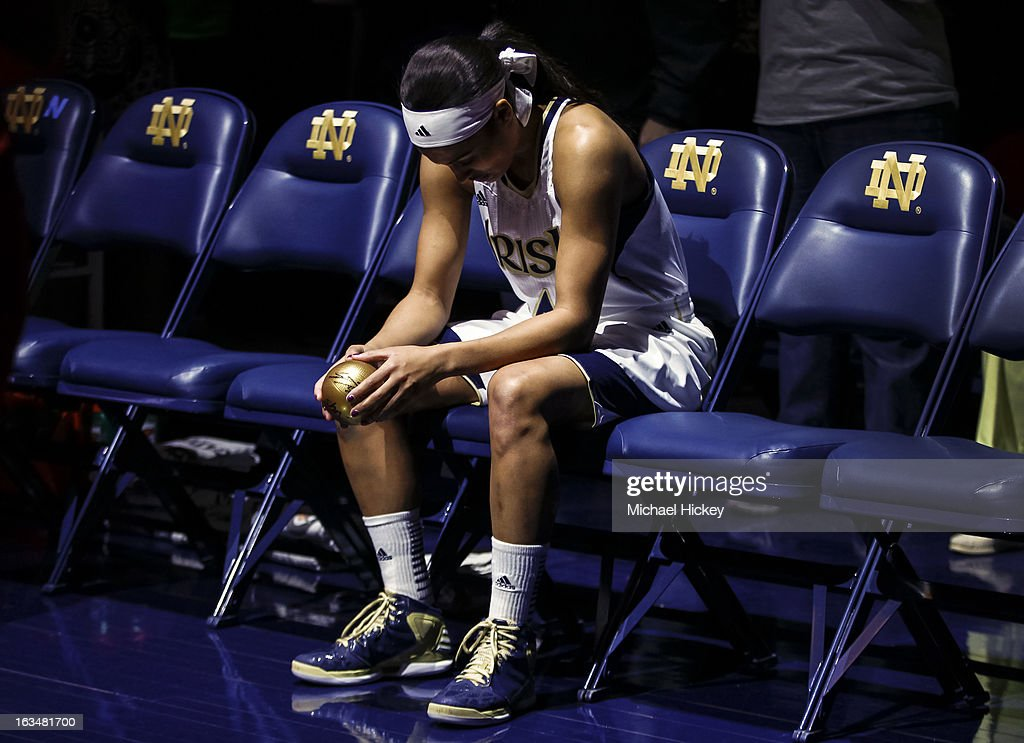 Skylar Diggins #4 of the Notre Dame Fighting Irish seen during player introductions before the game against the Connecticut Huskies at Purcel Pavilion on March 4, 2013 in South Bend, Indiana. Notre Dame defeated Connecticut 96-87 in triple overtime to win the Big East regular season title.