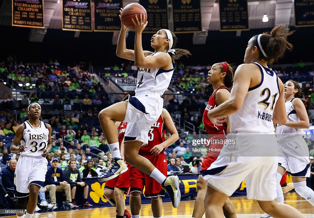 <a gi-track='captionPersonalityLinkClicked' href=/galleries/search?phrase=Skylar+Diggins&family=editorial&specificpeople=5791961 ng-click='$event.stopPropagation()'>Skylar Diggins</a> #4 of the Notre Dame Fighting Irish shoots the ball against the Louisville Cardinals at Purcel Pavilion on February 11, 2013 in South Bend, Indiana. Notre Dame defeated Louisville 93-64.