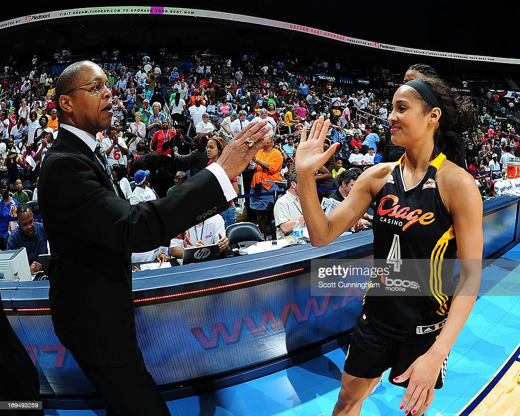 <a gi-track='captionPersonalityLinkClicked' href=/galleries/search?phrase=Skylar+Diggins&family=editorial&specificpeople=5791961 ng-click='$event.stopPropagation()'>Skylar Diggins</a> #4 of the Tulsa Shock congratulates Head Coach Fred Williams of the Atlanta Dream after the game at Philips Arena on May 25, 2013 in Atlanta, Georgia.