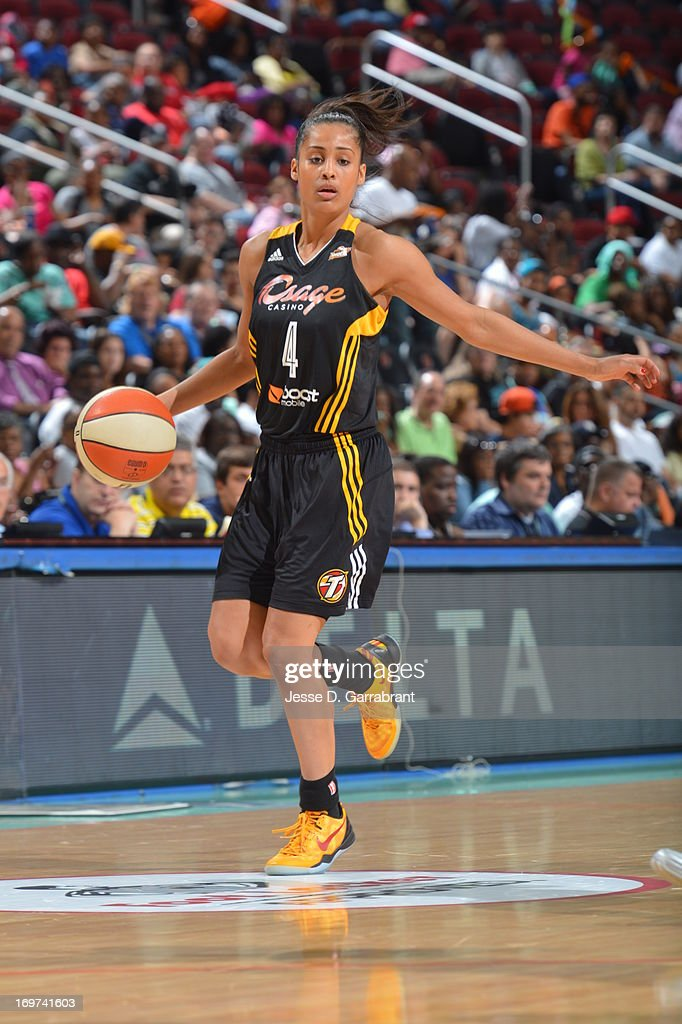 <a gi-track='captionPersonalityLinkClicked' href=/galleries/search?phrase=Skylar+Diggins&family=editorial&specificpeople=5791961 ng-click='$event.stopPropagation()'>Skylar Diggins</a> #4 of the Tulsa Shock controls the ball against the New York Liberty during the game on May 31, 2013 at Prudential Center in Newark, New Jersey.