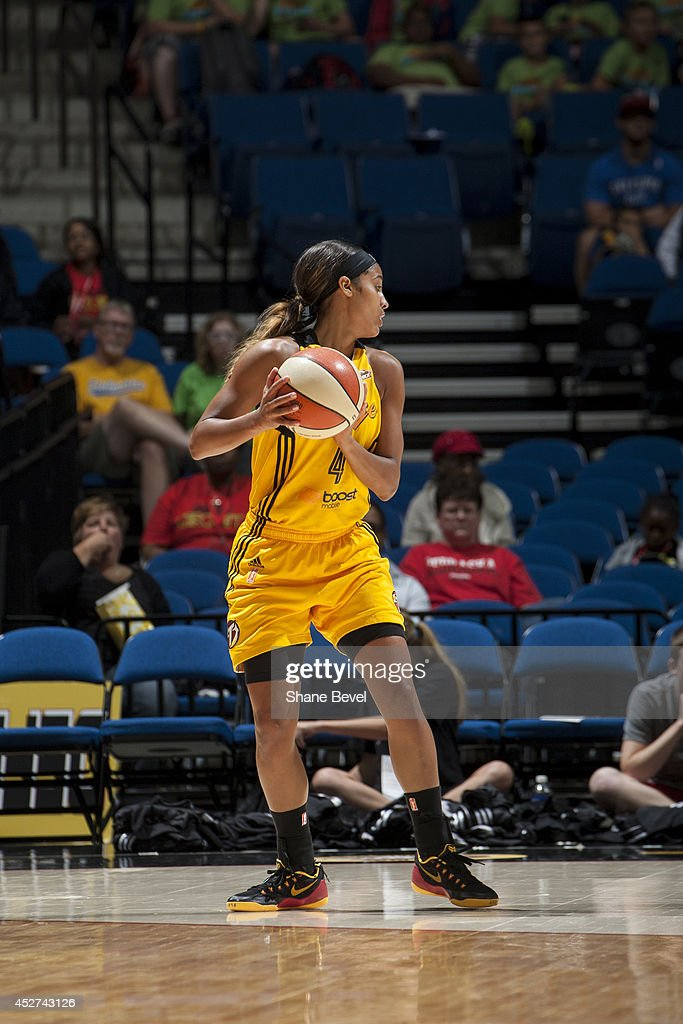 <a gi-track='captionPersonalityLinkClicked' href=/galleries/search?phrase=Skylar+Diggins&family=editorial&specificpeople=5791961 ng-click='$event.stopPropagation()'>Skylar Diggins</a> #4 of the Tulsa Shock looks to pass the ball against the San Antonio Stars during the WNBA game on July 17, 2014 at the BOK Center in Tulsa, Oklahoma.