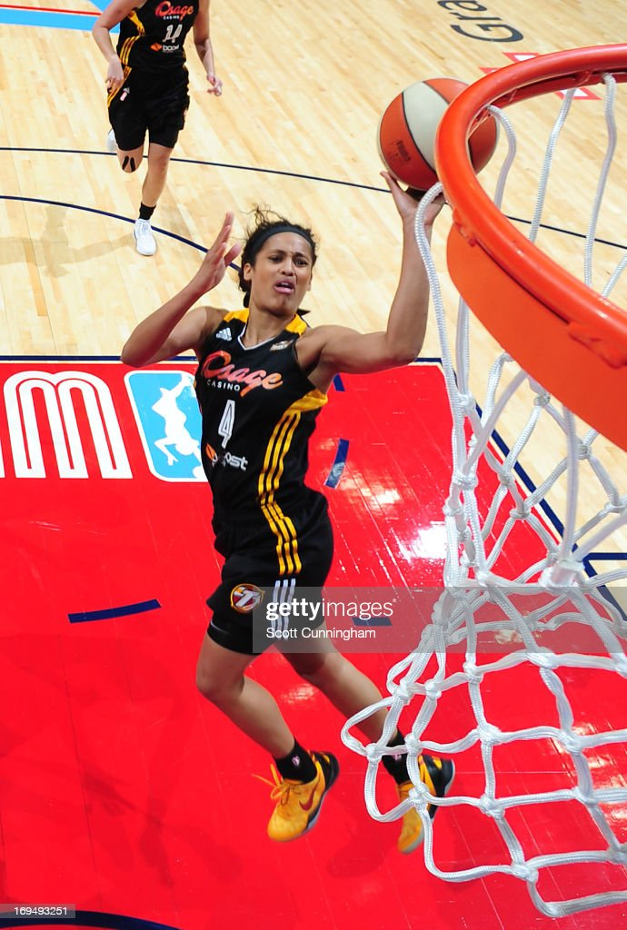 <a gi-track='captionPersonalityLinkClicked' href=/galleries/search?phrase=Skylar+Diggins&family=editorial&specificpeople=5791961 ng-click='$event.stopPropagation()'>Skylar Diggins</a> #4 of the Tulsa Shock puts up a shot against the Atlanta Dream at Philips Arena on May 25, 2013 in Atlanta, Georgia.