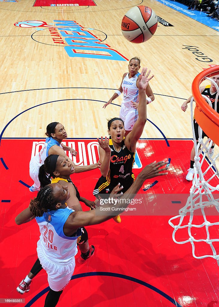 Skylar Diggins #4 of the Tulsa Shock puts up a shot against the Atlanta Dream at Philips Arena on May 25, 2013 in Atlanta, Georgia.