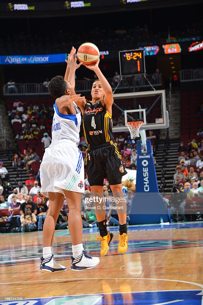 <a gi-track='captionPersonalityLinkClicked' href=/galleries/search?phrase=Skylar+Diggins&family=editorial&specificpeople=5791961 ng-click='$event.stopPropagation()'>Skylar Diggins</a> #4 of the Tulsa Shock shoots against the New York Liberty during the game on May 31, 2013 at Prudential Center in Newark, New Jersey.