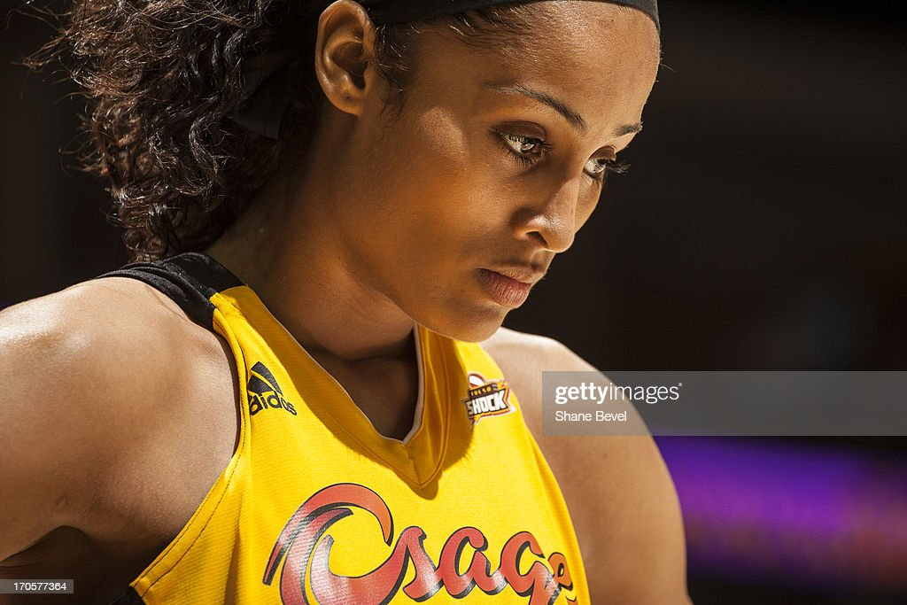 Skylar Diggins #4 of the Tulsa Shock waits for a call by the officials during the WNBA game against the Minnesota Lynx on June 14, 2013 at the BOK Center in Tulsa, Oklahoma.