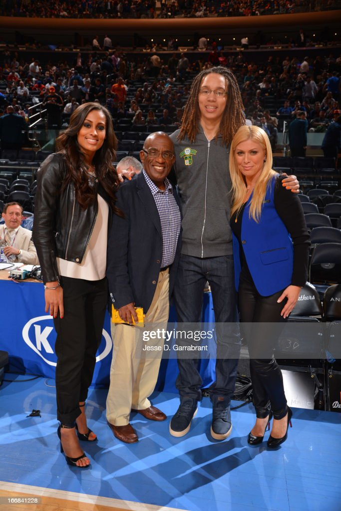 Skylar Diggins of the Tulsa Shock, weather anchor Al Roker, Brittney Griner of the Phoenix Mercury, and sportscaster Jill Martin pose for a picture at the game between the Atlanta Hawks and the New York Knicks on April 17, 2013 at Madison Square Garden in New York City, New York.