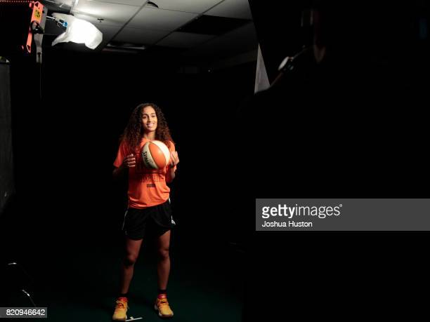 Skylar DigginsSmith of the Dallas Wings behind the scenes of the NBAE circuit during the WNBA AllStar practice as part of the WNBA AllStar Game 2017...