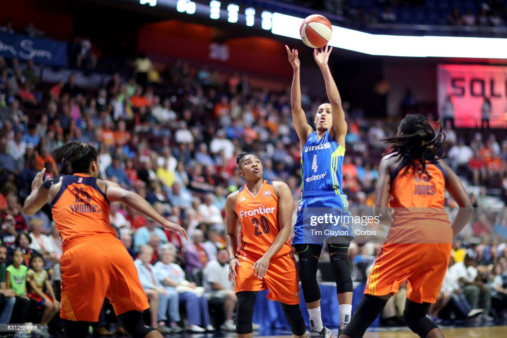 Skylar Diggins-Smith #4 of the Dallas Wings drives shoots while defended by Jonquel Jones #35 of the Connecticut Sun during the Connecticut Sun Vs Dallas Wings, WNBA regular season game at Mohegan Sun Arena on August 12th, 2017 in Uncasville, Connecticut.