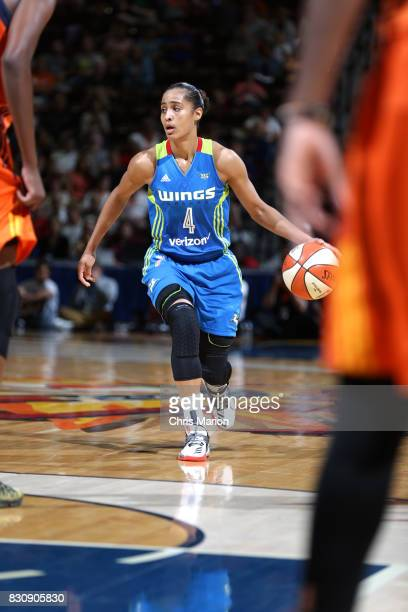 Skylar DigginsSmith of the Dallas Wings handles the ball against the Connecticut Sun on August 12 2017 at Mohegan Sun Arena in Uncasville CT NOTE TO...
