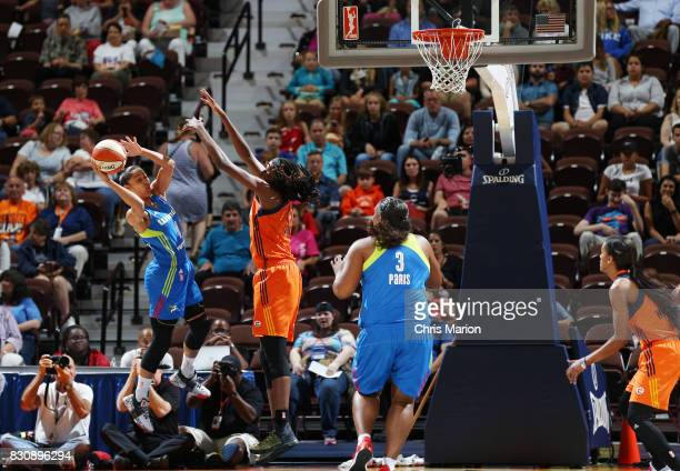Skylar DigginsSmith of the Dallas Wings passes the ball against the Connecticut Sun on August 12 2017 at Mohegan Sun Arena in Uncasville CT NOTE TO...