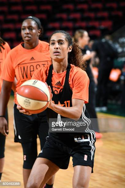 Skylar DigginsSmith of the Dallas Wings shoots the ball during the Western Conference practice during the 2017 WNBA AllStar practice and media...
