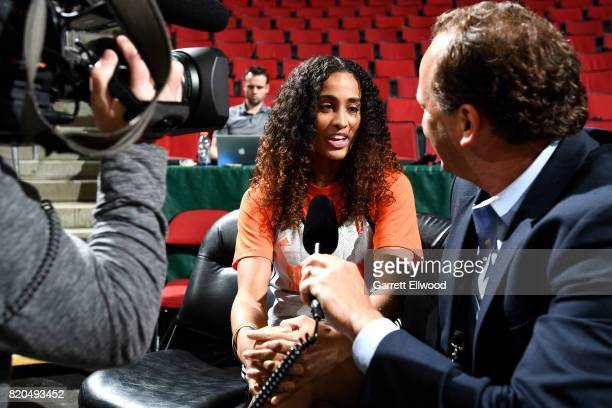 Skylar DigginsSmith of the Dallas Wings talks with the media during the Western Conference practice during the 2017 WNBA AllStar practice and media...