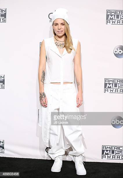 Skylar Grey poses in the press room at the 2014 American Music Awards at Nokia Theatre LA Live on November 23 2014 in Los Angeles California