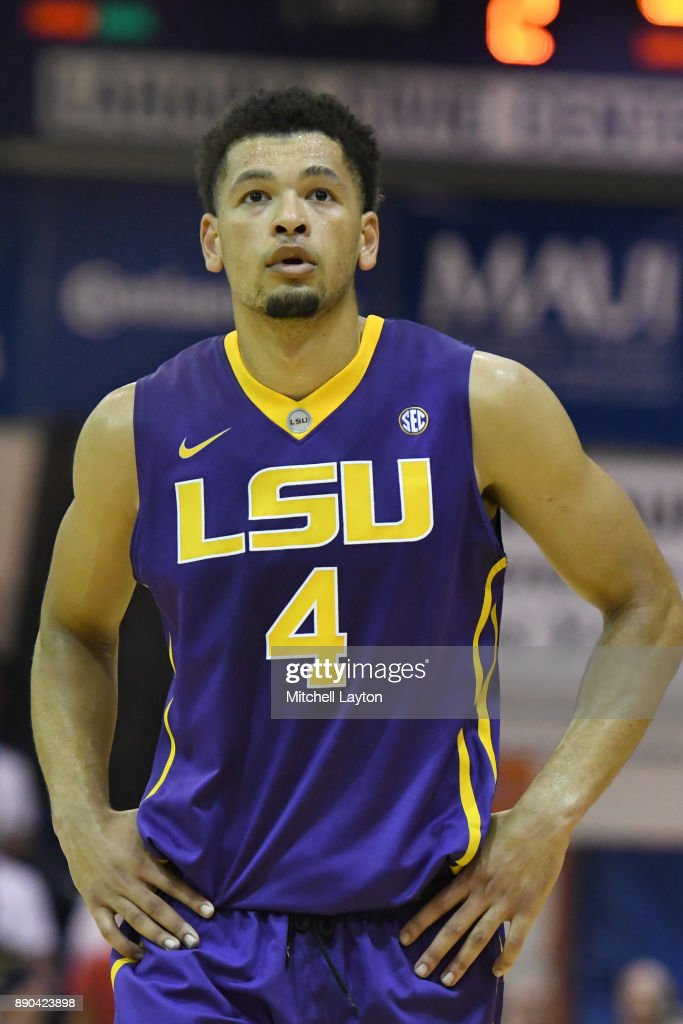 Skylar Mays #4 of the LSU Tigers looks on during a consultation college basketball game at the Maui Invitational against the Marquette Golden Eagles at the Lahaina Civic Center on November 22, 2017 in Lahaina, Hawaii. The Golden Eagles won 94-84.