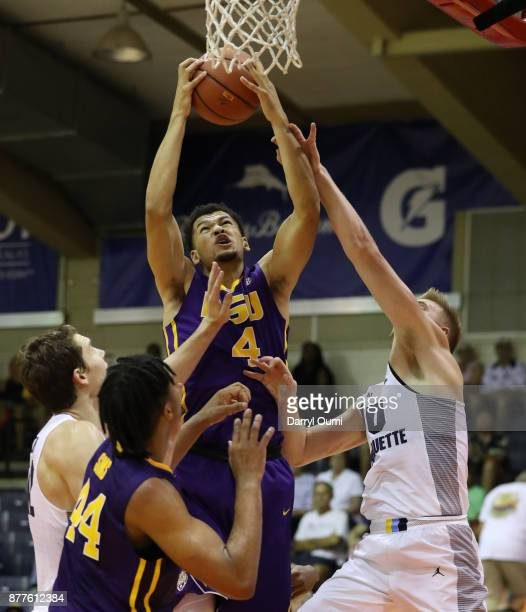 Skylar Mays of the LSU Tigers pulls down a rebound during the first half of the game against the Marquette Golden Eagles at the Maui Invitational at...