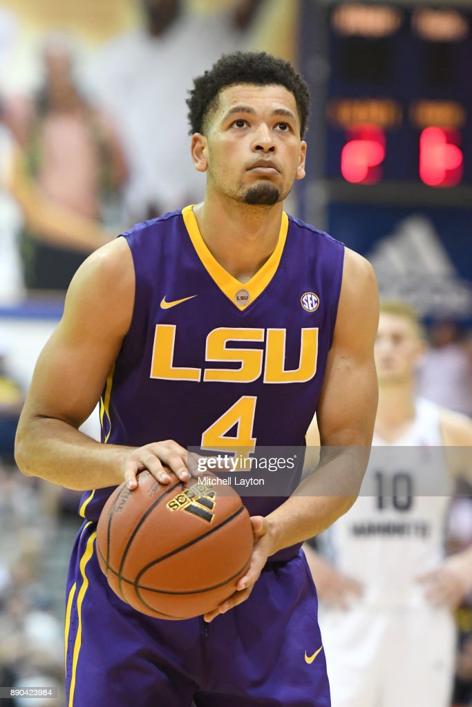 Skylar Mays #4 of the LSU Tigers takes a foul shot during a consultation college basketball game at the Maui Invitational against the Marquette Golden Eagles at the Lahaina Civic Center on November 22, 2017 in Lahaina, Hawaii. The Golden Eagles won 94-84.