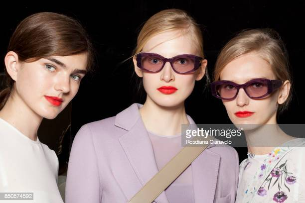 Models are seen backstage ahead of the Max Mara show during Milan Fashion Week Spring/Summer 2018on September 21 2017 in Milan Italy
