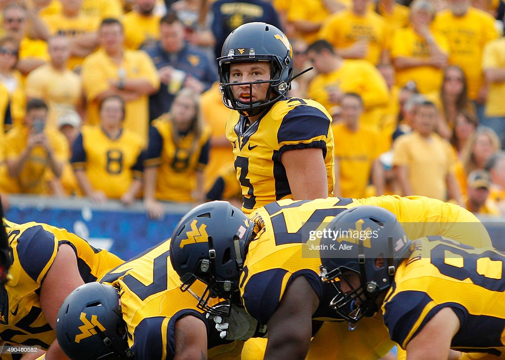 Skyler Howard of the West Virginia Mountaineers in action during the game against the Maryland Terrapins on September 26 2015 at Mountaineer Field in...