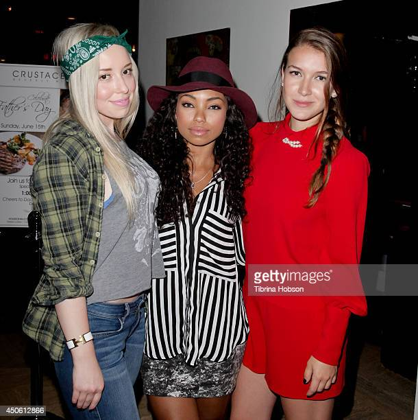 Skyler Shaye Logan Browning and Nathalia Ramos attend the 'Red Hour Live Music Series' at Crustacean on June 11 2014 in Beverly Hills California