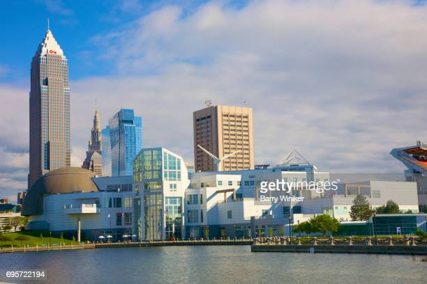 Skyline above Great Lakes Science Center, Cleveland