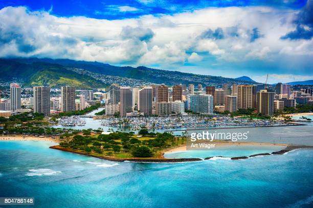 Antenne van de skyline van Honolulu Hawaii