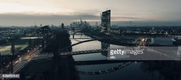 Skyline and Eastend Frankfurt at dusk - panoramic aerial view