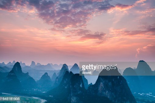 Skyline and landscape of Guilin