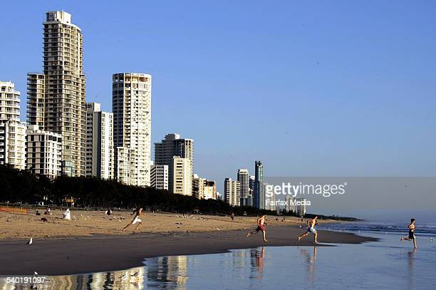 Skyline and people on the beach in Surfers Paradise Queensland Australia AFR Picture ROB HOMER