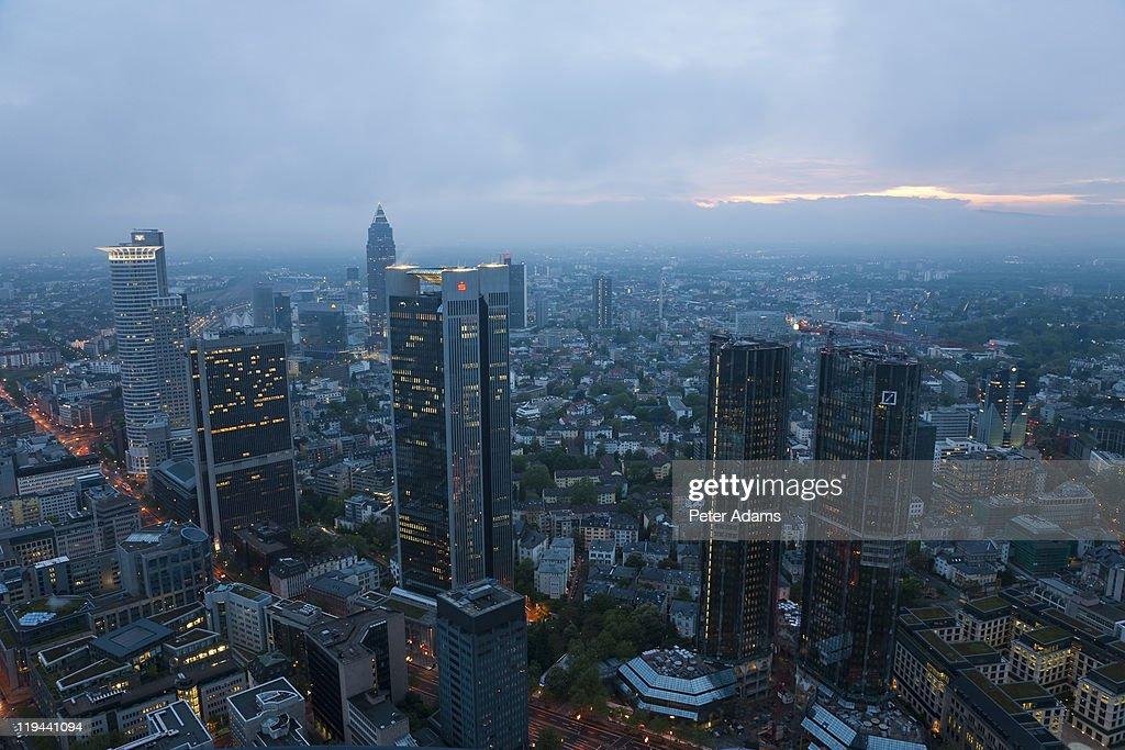 Skyline at Dusk, Frankfurt, Germany : Stock Photo