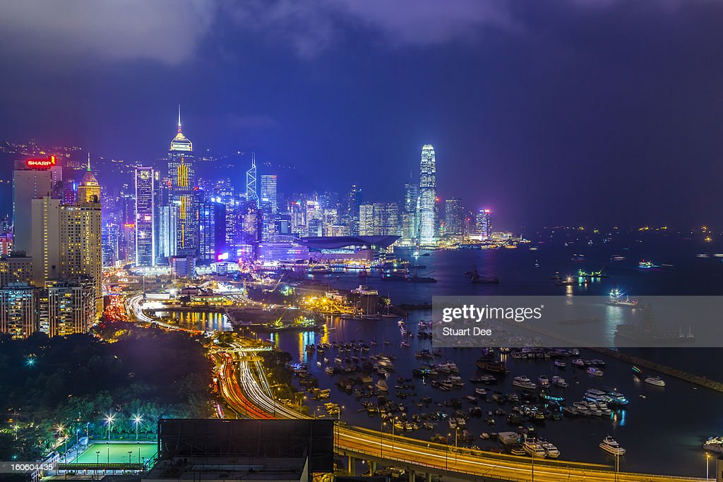 Skyline at night, Hong Kong : Stock Photo