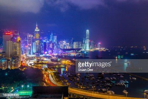 Skyline at night, Hong Kong : Bildbanksbilder