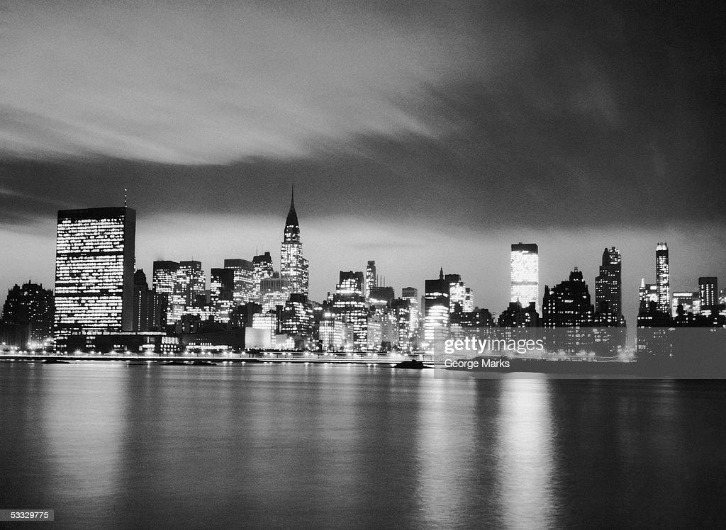 NYC skyline at night : Stock Photo