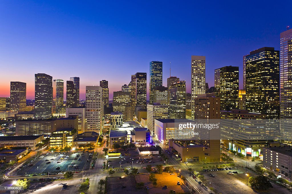 Skyline at night/dusk, Houston, USA