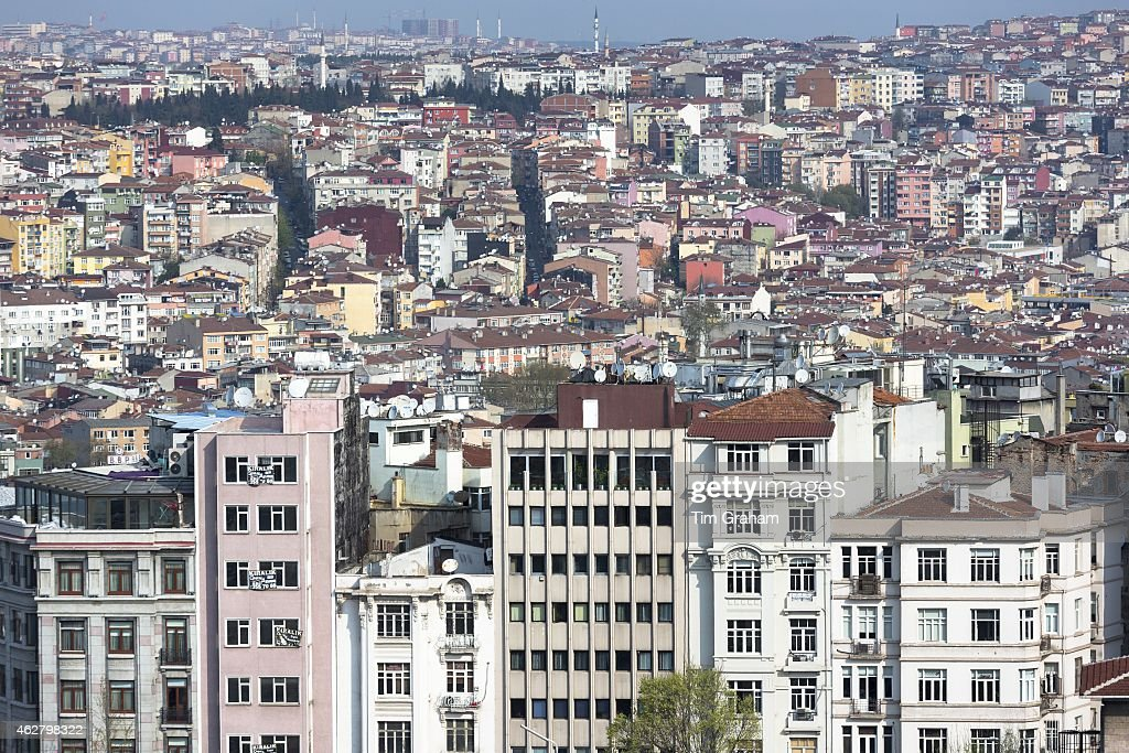 Skyline cityscape apartment blocks and offices of Karakoy and Beyoglu in Istanbul Republic of Turkey
