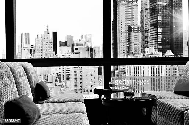 NYC Skyline from a Window Bar Lounge, NYC. Black And White.