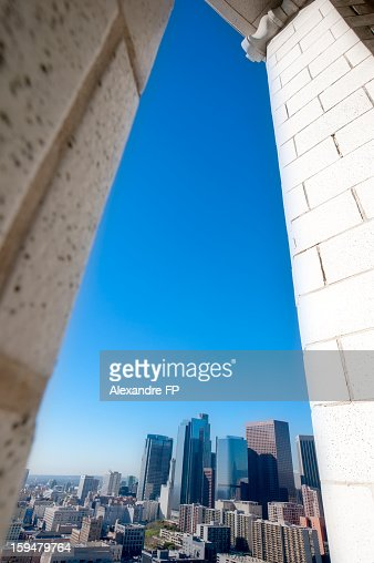 L.A. Skyline from Los Angeles CIty Hall 27th floor : Stock Photo