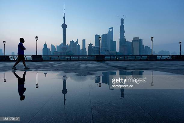 Skyline from Pudong Shanghai with mirror