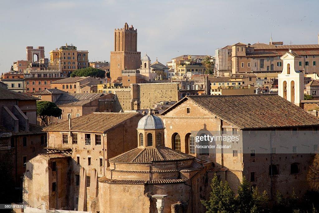Skyline of Ancient Rome (Foro Romano) in Italy