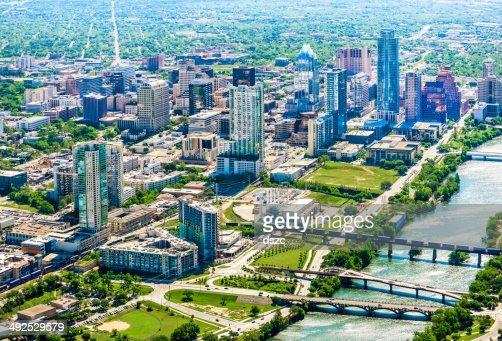 Skyline of Austin, Texas downtown city skyscrapers - Aerial shot