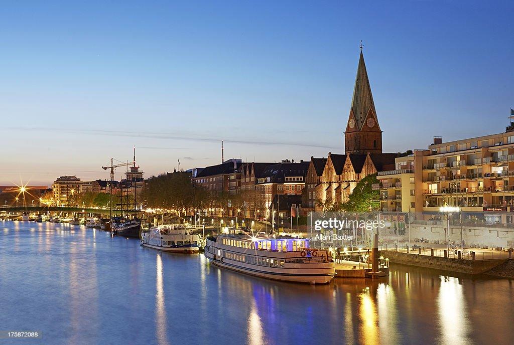 skyline of Bremen and River Weser