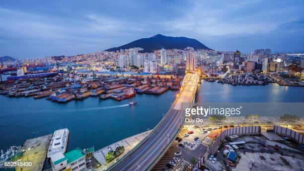 Skyline of Busan Metropolitan City with high view, in the blue hour
