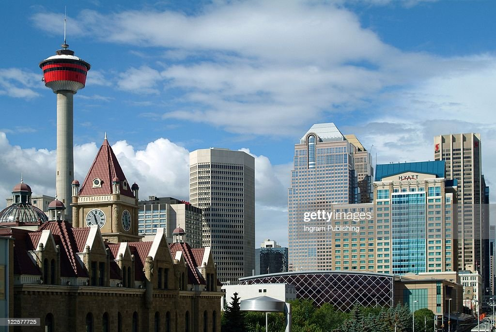 Skyline of Calgary, Alberta, Canada with the famous landmark Tower.
