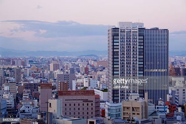 Skyline of central Nagoya buildings at sunset