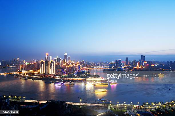 skyline of chongqing at night