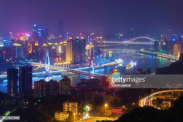 skyline of Chongqing by night ( China )